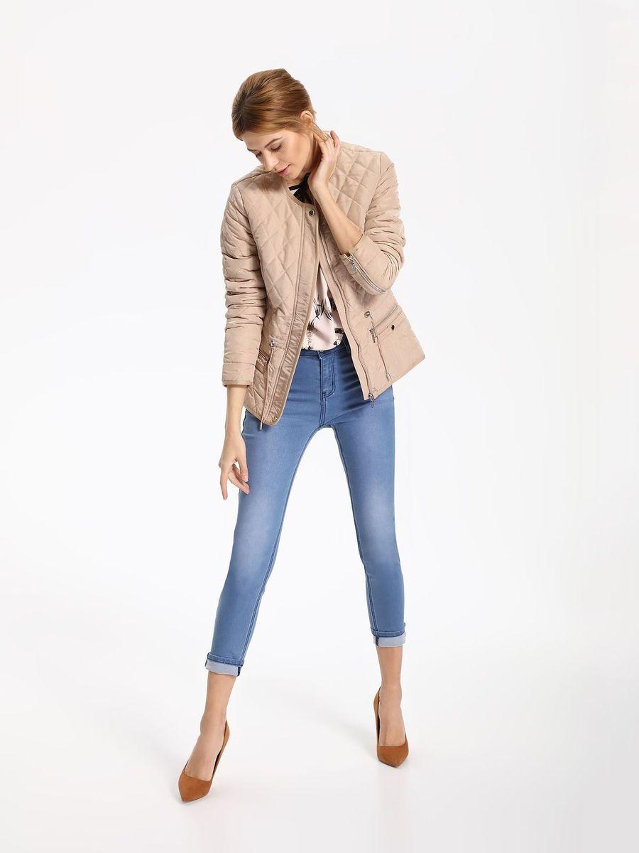 Куртка женская Top Secret, цвет: бежевый. SKU0757BE. Размер 38 (46)SKU0757BEЖенская куртка Top Secret выполнена из полиэстера. Модель с круглым вырезом горловины и длинными рукавами застегивается на застежку-молнию.