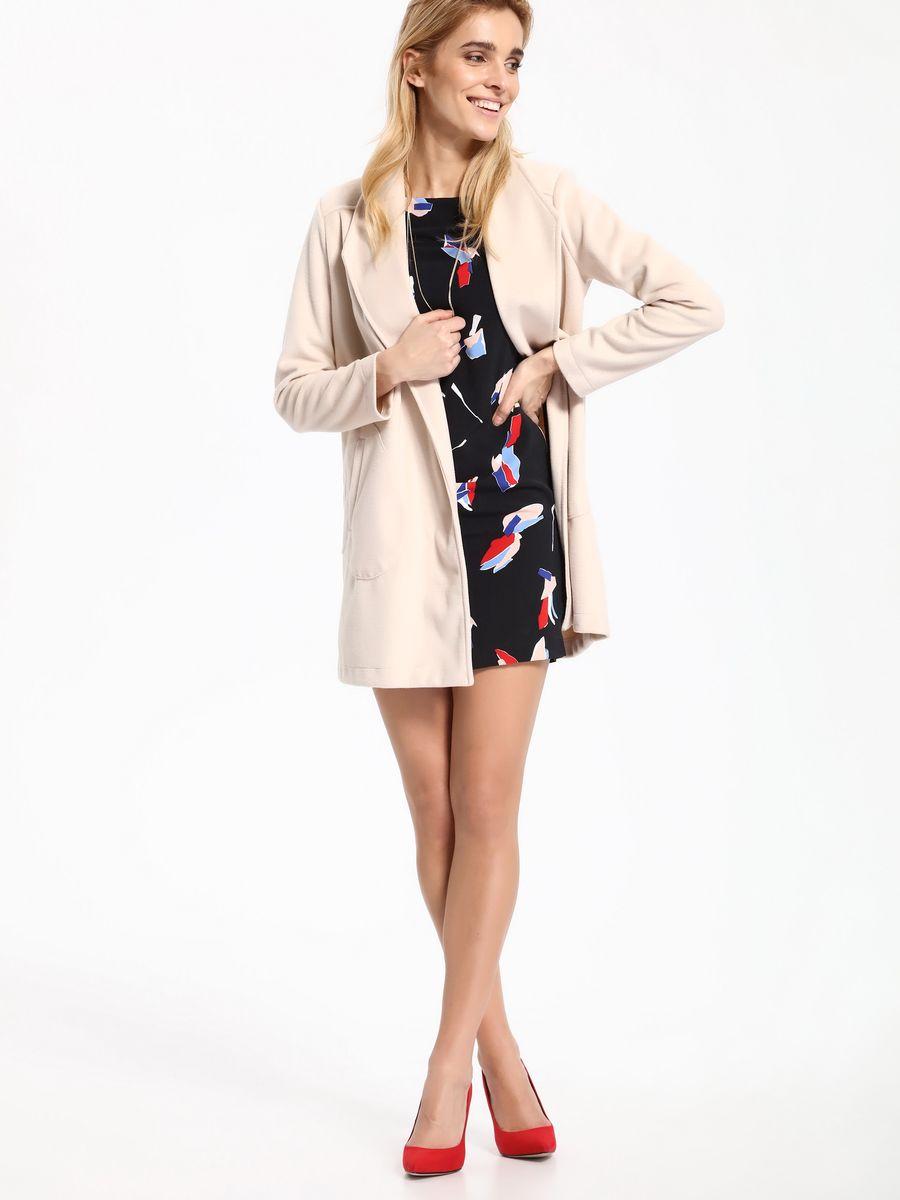Пальто женское Top Secret, цвет: бежевый. SPZ0383BE. Размер 40/42 (48/50)SPZ0383BEЖенское пальто Top Secret выполнено из высококачественного комбинированного материала. Модель с длинными рукавами приятной расцветки.