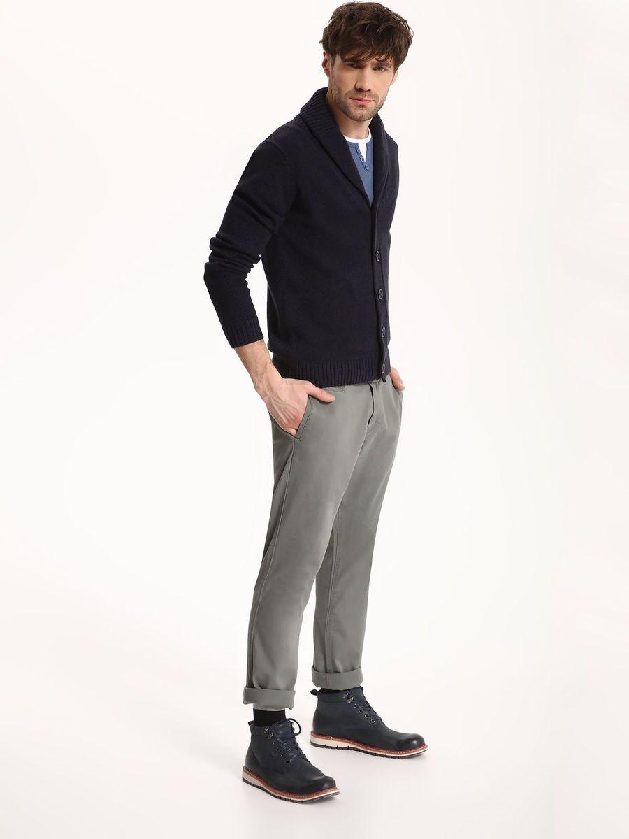 Свитер мужской Top Secret, цвет: темно-синий. SSW2073GR. Размер XL (52)SSW2073GRСвитер мужской Top Secret выполнен из хлопка. Модель с длинными рукавами застегивается на пуговицы.
