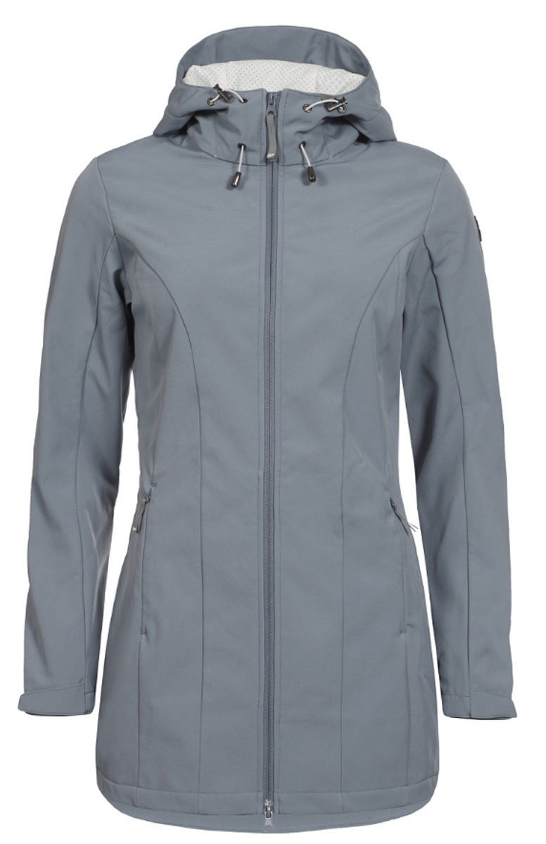 Куртка женская Icepeak, цвет: серый. 754850682IV. Размер 38 (44)754850682IVЖенская куртка Icepeak выполнена из качественного полиэстера. Модель с длинными рукавами застегивается на застежку-молнию. Изделие дополнено капюшоном и двумя врезными карманами на молниях.