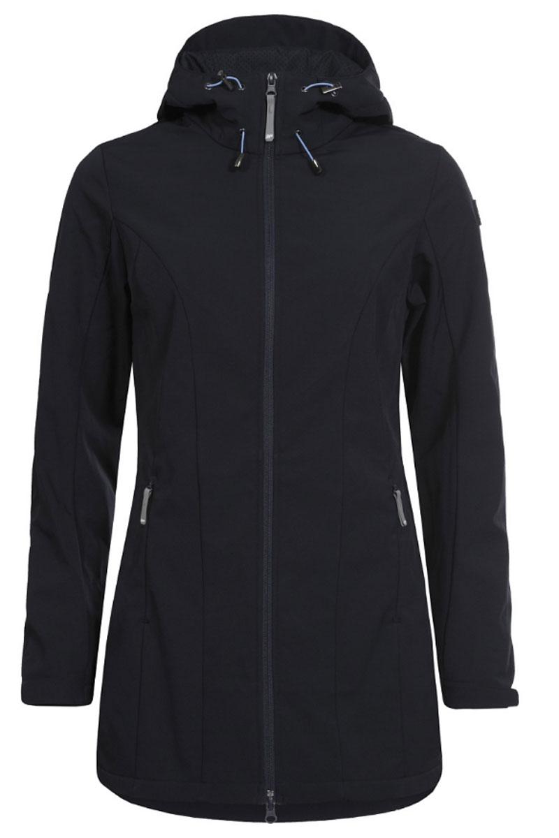 Куртка женская Icepeak, цвет: черно-синий. 754850682IV. Размер 38 (44)754850682IVЖенская куртка Icepeak выполнена из качественного полиэстера. Модель с длинными рукавами застегивается на застежку-молнию. Изделие дополнено капюшоном и двумя врезными карманами на молниях.