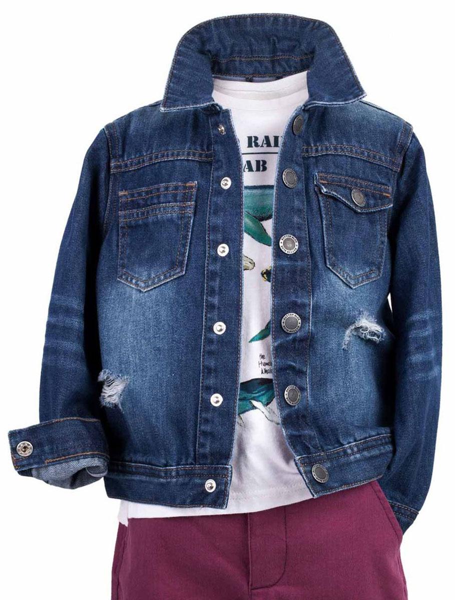 Куртка джинсовая для мальчика Button Blue Main, цвет: синий. 117BBBC4001D500. Размер 98, 3 года117BBBC4001D500Джинсовая куртка для мальчика - базовая вещь весенне-летнего гардероба. Она отлично сочетается с брюками, шортами, бриджами, делая комплект интересным и завершенным. Вы хотите, чтобы ваш ребенок был в тренде? Тогда джинсовая куртка от Button Blue с модными потертостями, заминами, варкой - лучший вариант!