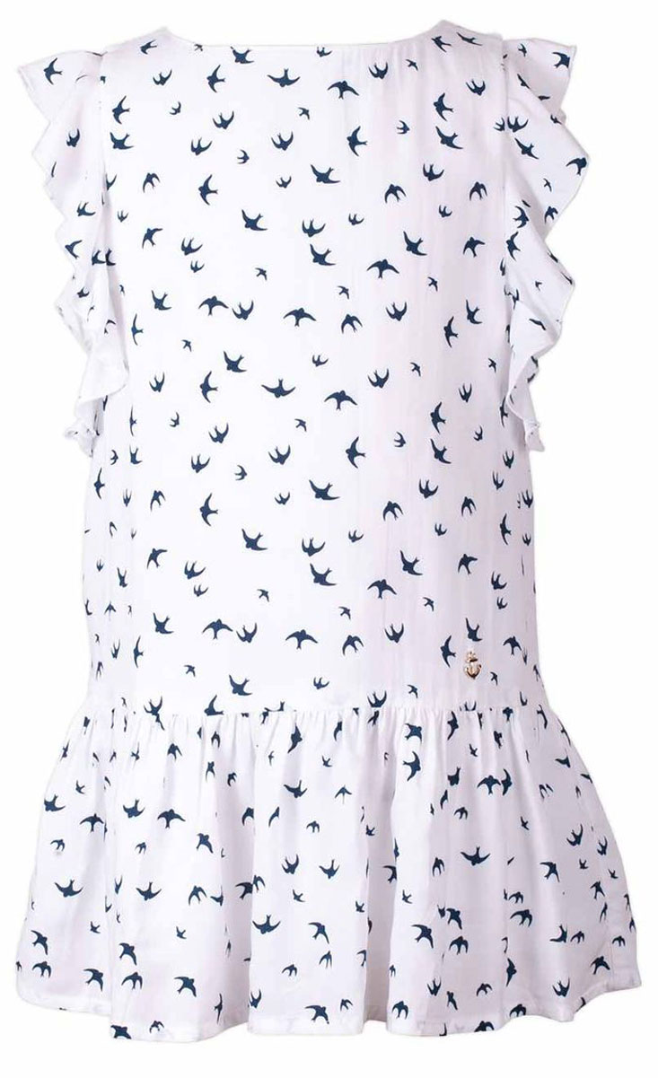 Платье для девочки Button Blue Main, цвет: белый. 117BBGC25030207. Размер 104, 4 года117BBGC25030207Прекрасный летний вариант -текстильное платье с рисунком на тонкой хлопковой подкладке. Модный силуэт, комфортная форма, выразительные детали делают платье для девочки отличным решением для каждого дня лета. Если вы хотите приобрести одновременно и красивую, и практичную, и удобную вещь, вам стоит купить детское платье от Button Blue.