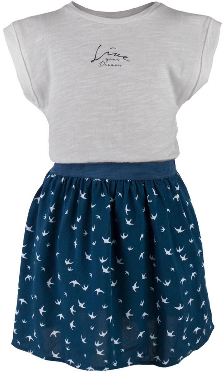 Платье для девочки Button Blue Main, цвет: серый, темно-бирюзовый. 117BBGC25011007. Размер 110, 5 лет117BBGC25011007Прекрасный летний вариант - комбинированное детское платье из однотонного трикотажа и текстиля в мелкий рисунок. Модный силуэт, комфортная форма делают платье для девочки отличным решением для каждого дня лета. Если вы хотите приобрести одновременно и красивую, и практичную, и удобную вещь, вам стоит купить детское платье от Button Blue.