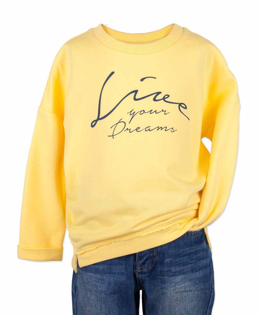 Свитшот для девочки Button Blue Main, цвет: желтый. 117BBGC16012700. Размер 116, 6 лет117BBGC16012700Детский свитшот - хит прогулочного и домашнего гардероба. Модная, удобная, практичная модель для девочки с принтом - отличная вещь на каждый день. Обратите внимание на форму свитшота. Спущенное плечо, свободная форма позволят ребенку не только быть в тренде, но и чувствовать себя очень комфортно. И весной, и летом он подарит уют, свободу движений и хорошее настроение.