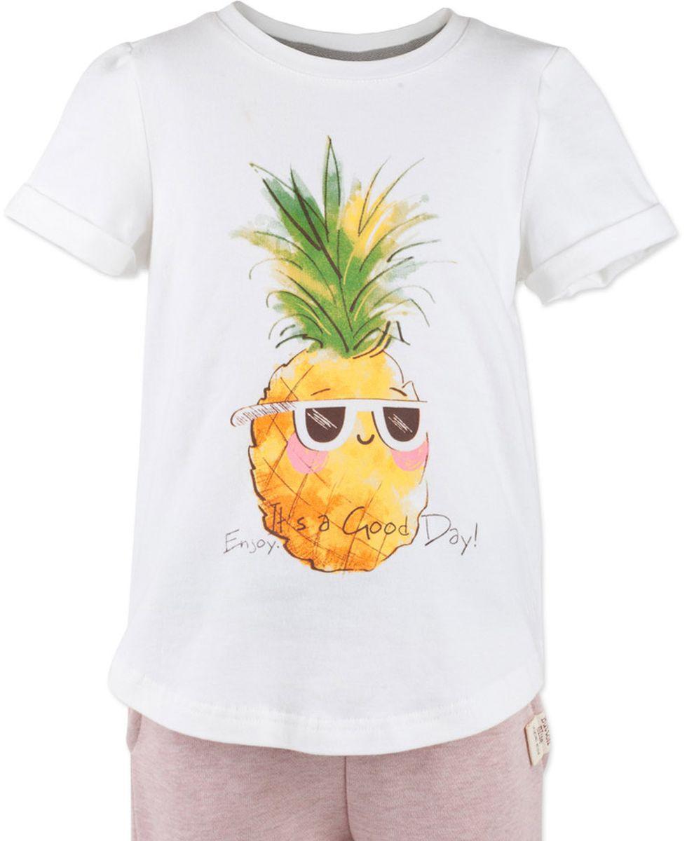 Футболка для девочки Button Blue Main, цвет: белый, ананас. 117BBGC12010205. Размер 98, 3 года117BBGC12010205Футболка - не только базовая вещь в гардеробе ребенка, но и залог хорошего летнего настроения. Если вы решили купить недорогую белую футболку для девочки, выберете модель футболки с оригинальным принтом, и ваш ребенок будет доволен.