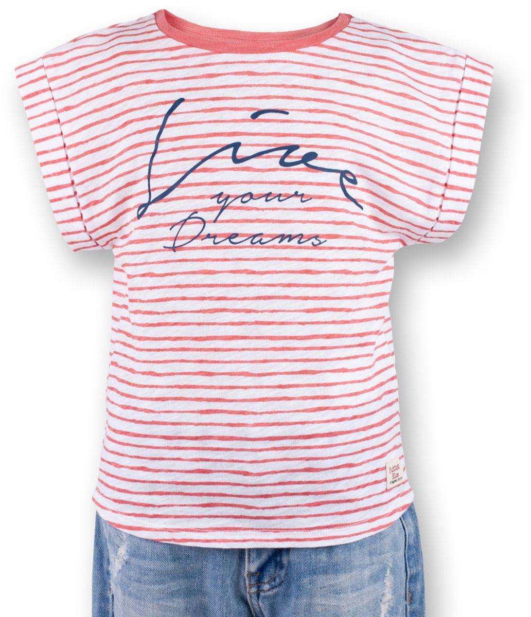 Футболка для девочки Button Blue Main, цвет: коралловый. 117BBGC12022205. Размер 104, 4 года117BBGC12022205Полосатая футболка - не только базовая вещь в гардеробе ребенка, но и залог хорошего летнего настроения. Если вы решили купить футболку для девочки, выберете модель футболки в полоску с оригинальным принтом, и ваш ребенок будет доволен.