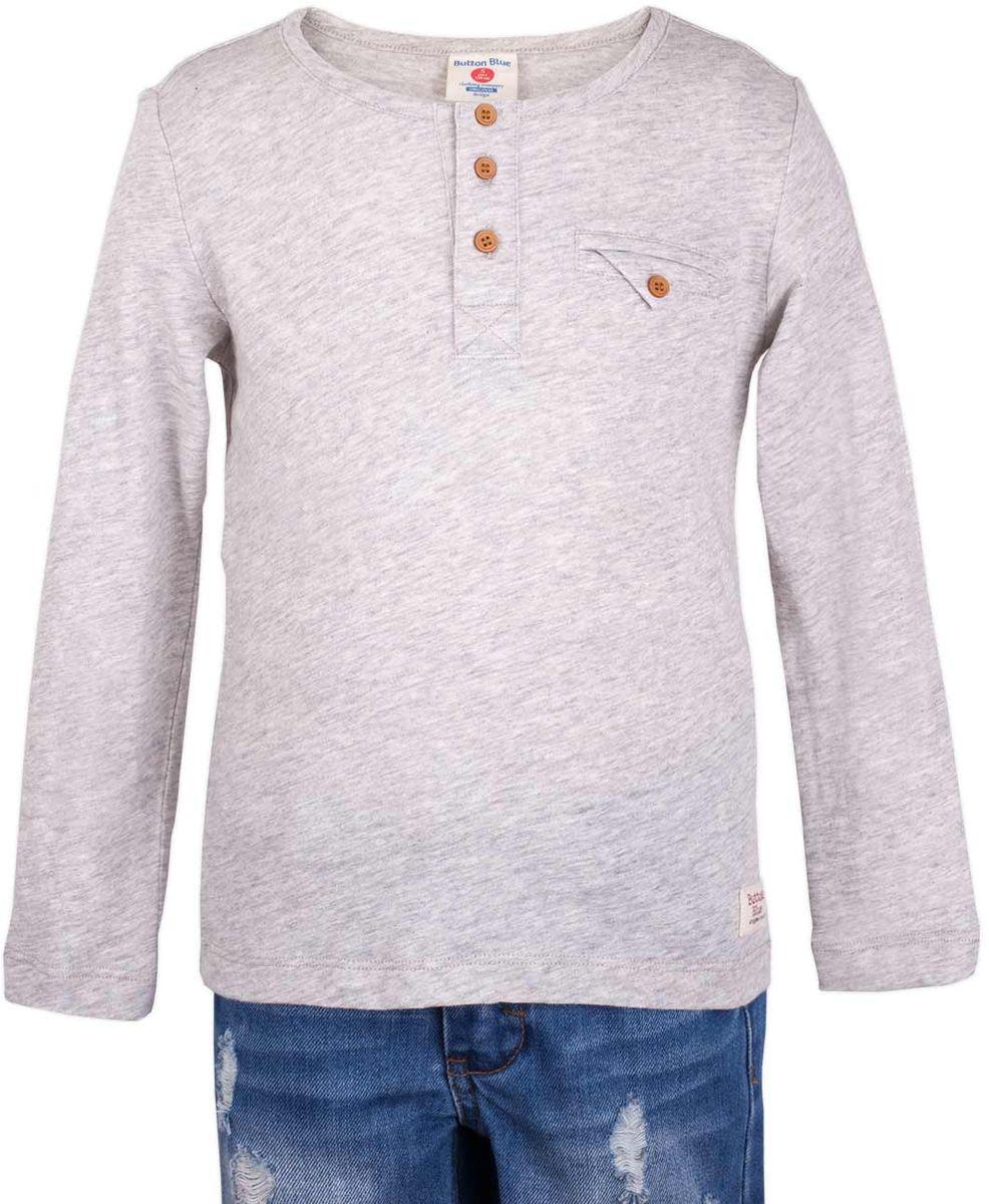 Футболка с длинным рукавом для мальчика Button Blue Main, цвет: серый. 117BBBC12051900. Размер 146, 11 лет117BBBC12051900Футболка с длинным рукавом и короткой планкой - не просто базовая вещь в гардеробе ребенка, а залог хорошего летнего настроения. Если вы планируете купить недорого стильную футболку для мальчика, эта модель - отличный выбор!