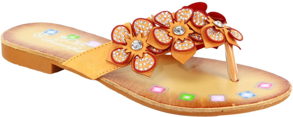 Шлепанцы для девочки Flois Beautiful, цвет: оранжевый. FL-00335. Размер 32FL-00335Летние шлепанцы от Flois Beautiful изготовлены из искусственной кожи. Верх изделия оформлен декоративными цветами со стразами. Подкладка, изготовленная из натуральной кожи, обеспечит ножкам комфорт и уют. Стелька выполнена из натуральной кожи.