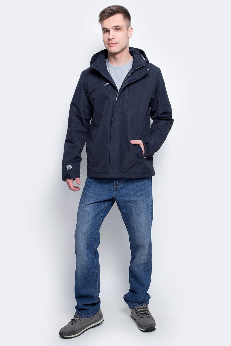 Куртка мужская Icepeak, цвет: темно-синий. 756286886XV_390. Размер XL (54)756286886XV_390Мужская куртка с подкладкой Icepeak выполнена из качественного полиэстера. Модель с длинными рукавами застегивается на застежку-молнию. Изделие дополнено съемным капюшоном и тремя внешними карманами.