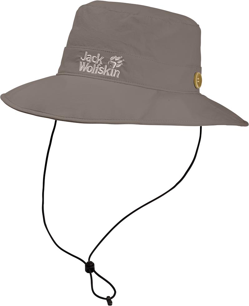 Панама Jack Wolfskin Supplex Mesh Hat, цвет: бежевый. 1902042-5116. Размер L (57/60)1902042-5116Панама Supplex Mesh Hat идеально подходит для путешествий. Верх изделия выполнен из материала SUPPLEX (100% полиамид). Это легкая, мягкая и быстросохнущая ткань. Подкладка изготовлена из легкого материала COOLMAX MESH (100% полиэстер), который создает прохладу, выводит влагу наружу и обеспечивает комфорт при носке. Панама имеет широкие поля, а также обладает высокой защитой от ультрафиолета (UPF 40+), поэтому она идеально защитит вашу голову и лицо от палящего солнца. Панама фиксируется с помощью затягивающегося шнурка. Модель выполнена в однотонном дизайне и дополнена вышивкой с логотипом бренда.