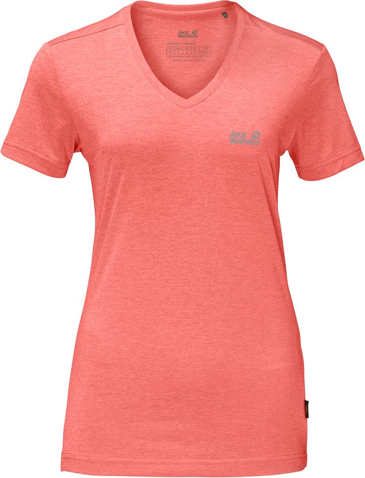 Футболка женская Jack Wolfskin Crosstrail T W, цвет: розовый. 1801692-2086. Размер S (44)1801692-2086Футболка женская Crosstrail T W изготовлена из 100% полиэстера. Ткань приятно охлаждает кожу во время интенсивных нагрузок и предотвращает появление неприятного запаха. Когда вы выкладываетесь на все сто процентов во время тренировок или походов, ваша футболка активна - она быстро отводит влагу наружу и неизменно обеспечивает ощущение сухости при носке. Модель имеет V-образный вырез горловины и короткие стандартные рукава. Футболка дополнена логотипом бренда.