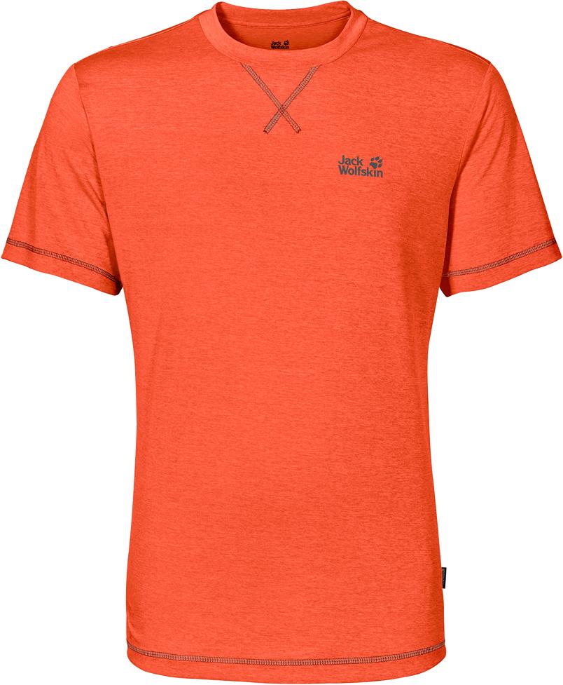 Футболка мужская Jack Wolfskin Crosstrail T M, цвет: оранжевый. 1801671-3727. Размер M (46)1801671-3727Футболка мужская Crosstrail T M изготовлена из 100% полиэстера. Ткань приятно охлаждает кожу во время интенсивных нагрузок и предотвращает появление неприятного запаха. Когда вы выкладываетесь на все сто процентов во время тренировок или походов, ваша футболка активна - она быстро отводит влагу наружу и неизменно обеспечивает ощущение сухости при носке. Модель имеет круглый вырез горловины и короткие стандартные рукава. Футболка дополнена логотипом бренда.