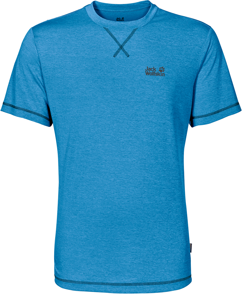 Футболка мужская Jack Wolfskin Crosstrail T M, цвет: голубой. 1801671-1651. Размер XXL (54)1801671-1651Футболка мужская Crosstrail T M изготовлена из 100% полиэстера. Ткань приятно охлаждает кожу во время интенсивных нагрузок и предотвращает появление неприятного запаха. Когда вы выкладываетесь на все сто процентов во время тренировок или походов, ваша футболка активна - она быстро отводит влагу наружу и неизменно обеспечивает ощущение сухости при носке. Модель имеет круглый вырез горловины и короткие стандартные рукава. Футболка дополнена логотипом бренда.