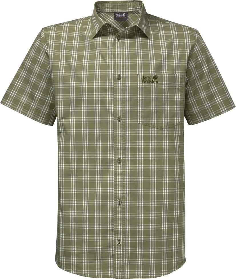Рубашка мужская Jack Wolfskin Hot Springs Shirt, цвет: хаки. 1402331-7986. Размер S (42)1402331-7986Рубашка мужская Hot Springs Shirt изготовлена из 100% натурального хлопка. В ней вы будете чувствовать себя комфортно в жаркую погоду. Модель отлично вентилируется и дает ощущение прохлады. Рубашка застегивается на пуговицы, имеет отложной воротник и короткие стандартные рукава. Спереди расположен накладной нагрудный карман. Рубашка дополнена принтом в клетку и логотипом бренда.