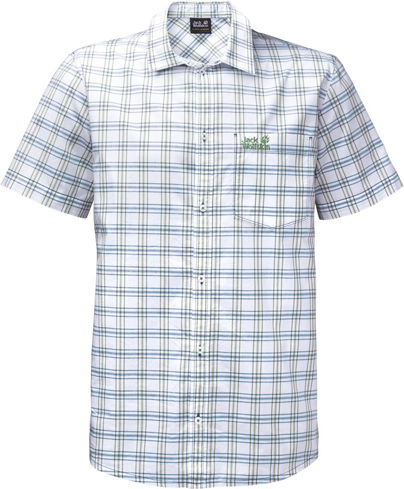 Рубашка мужская Jack Wolfskin Hot Springs Shirt, цвет: серо-голубой. 1402331-7919. Размер M (46)1402331-7919Рубашка мужская Hot Springs Shirt изготовлена из 100% натурального хлопка. В ней вы будете чувствовать себя комфортно в жаркую погоду. Модель отлично вентилируется и дает ощущение прохлады. Рубашка застегивается на пуговицы, имеет отложной воротник и короткие стандартные рукава. Спереди расположен накладной нагрудный карман. Рубашка дополнена принтом в клетку и логотипом бренда.