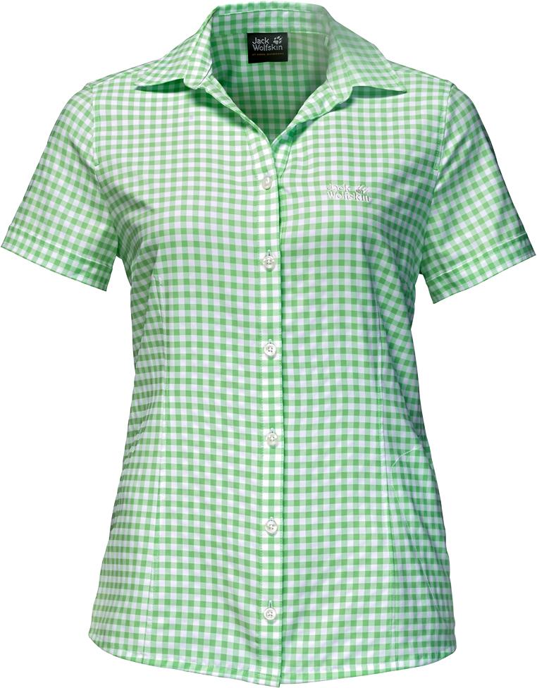 Рубашка женская Jack Wolfskin Kepler Shirt W, цвет: зеленый. 1401723-7934. Размер S (44)1401723-7934Рубашка женская Kepler Shirt выполнена из 100% полиэстера. Ткань дышащая, легкая, приятная на ощупь и эластичная, она обладает высокой защитой от ультрафиолета (UPF 50+) и быстро сохнет. Рубашка застегивается на пуговицы, имеет отложной воротник и короткие стандартные рукава, а также секретный карман. Модель дополнена принтом в клетку и логотипом бренда. Такая рубашка идеально подходит для путешествий в жаркие страны и повседневной носки в летний сезон.