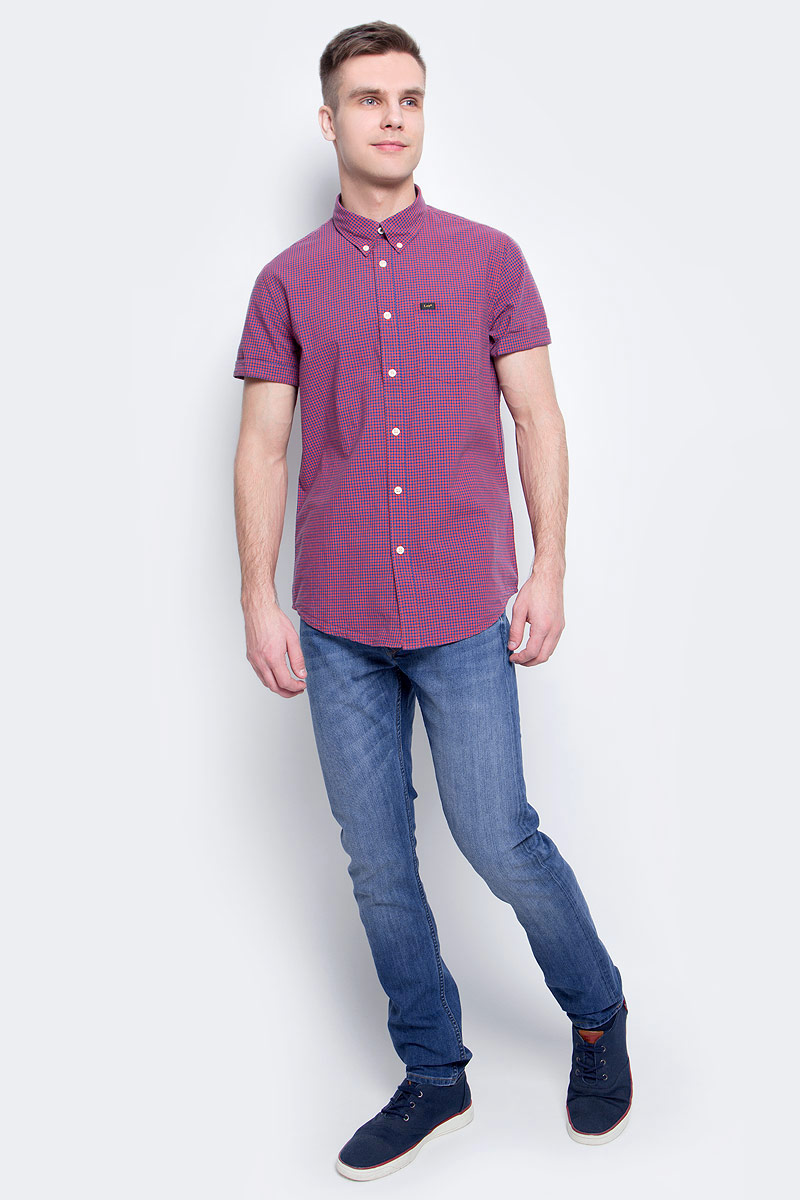 Рубашка мужская Lee, цвет: красный. L886IISK. Размер XL (52)L886IISK