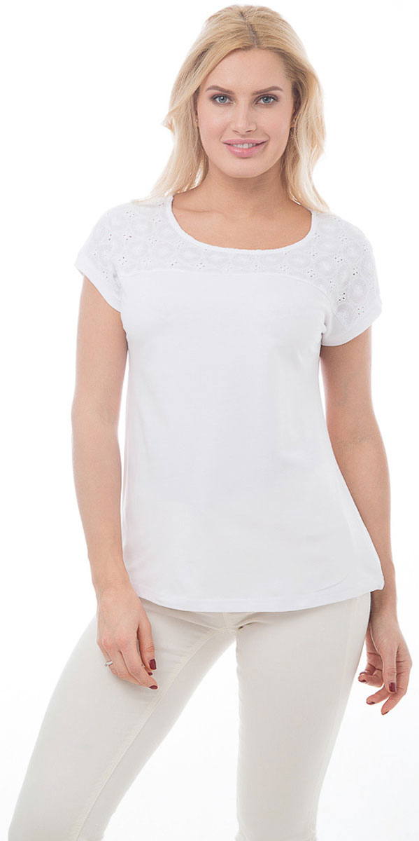"""Футболка женская BeGood, цвет: белый. BGUZ-890. Размер 48BGUZ-890-белыйСтильная женская футболка BeGood изготовлена из высококачественного эластичного хлопка. Модель свободного кроя с короткими рукавами и округлым вырезом горловины над грудью и по плечам оформлена вставкой из ткани """"шитье"""". Такая футболка великолепно дополнит летний гардероб и поможет вам создать современный динамичный образ."""