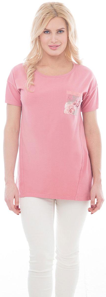 Туника женская BeGood, цвет: светло-розовый. BGUZ-970. Размер 54BGUZ-970-светло-розовыйЭлегантная туника BeGood изготовлена из высококачественного эластичного хлопка приятного на ощупь. Модель свободного кроя с короткими рукавами и округлым вырезом горловины. На груди изделие дополнено накладным кармашком с цветочным принтом и отделкой кружевом.Такая туника будет дарит вам комфорт в течение всего дня и великолепно дополнит летний гардероб.