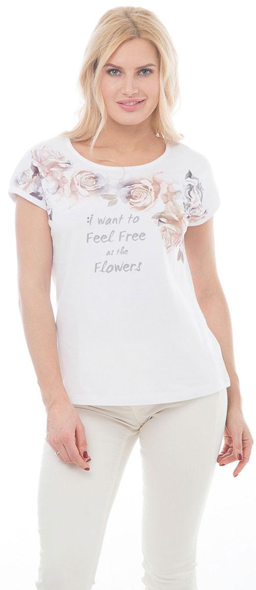 """Футболка женская BeGood, цвет: белый. BGUZ-967. Размер 50BGUZ-967-белыйСтильная женская футболка BeGood изготовлена из высококачественного эластичного хлопка приятного на ощупь. Модель свободного кроя с короткими рукавами и округлым вырезом горловины оформлена принтом с изображением роз и надписью: """"I want to feel free as the flowers"""". Такая футболка великолепно дополнит летний гардероб и поможет вам создать романтичный и нежный образ."""