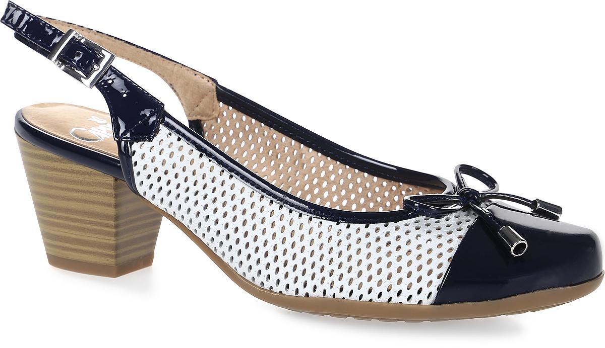 Туфли женские Caprice, цвет: белый, темно-синий. 9-9-29503-28-134/203. Размер 379-9-29503-28-134/203Стильные женские туфли на устойчивом каблуке выполнены из перфорированной кожи. Модель фиксируется на ноге при помощи ремешка с металлической пряжки. Внутренняя поверхность и стелька, из натуральной кожи обеспечат ногам комфорт и позволит ногам дышать. Подошва оснащена рифлением.