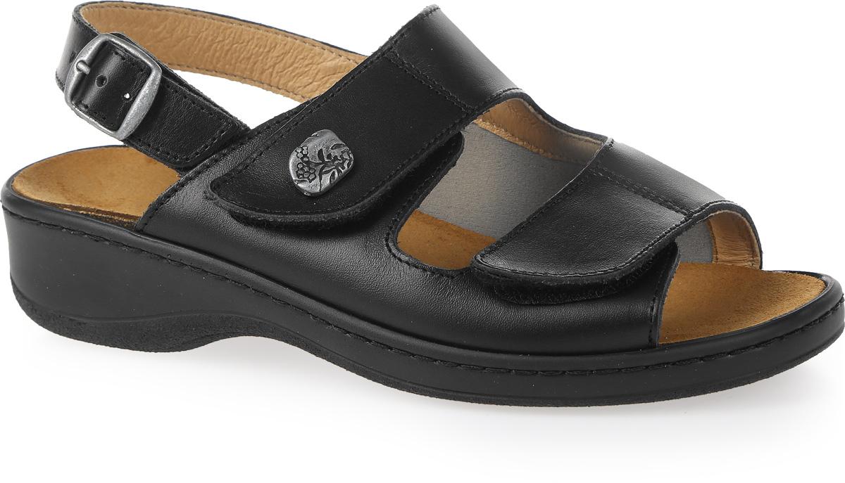 Сандалии женские Ortmann Karina, цвет: черный. 7.66.2. Размер 387.66.2Трендовые сандалии от Ortmann не оставят вас равнодушной. Модель изготовлена из натуральной кожи. Ремешок с металлической пряжкой надежно зафиксирует изделие на щиколотке. Длина ремешка регулируется за счет болта. Ремешки с липучками на мысе, регулируют полноту ноги. Стелька, оформленная названием бренда, исполнена из натуральной замши. Подошва с рифлением обеспечивает идеальное сцепление с любой поверхностью.