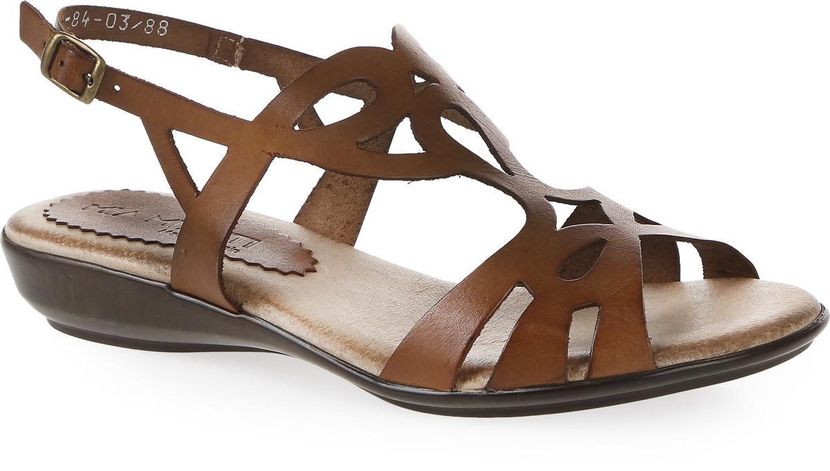 Сандалии женские Mia Mianti, цвет: коричневый. 904-84-03/88. Размер 40904-84-03/88Стильные сандалии от Mia Mianti займут достойное место среди вашей коллекции летней обуви. Модель выполнена из натуральной кожи и декорирована на подъеме оригинальным узором. Ремешок - огибающий пятку, с металлической пряжкой отвечают за надежную фиксацию модели на ноге. Стелька из натуральной кожи обеспечивает комфорт при ходьбе. Подошва выполнена из прочного полимера с противоскользящим рифлением. Модные сандалии прекрасно дополнят любой из ваших образов.