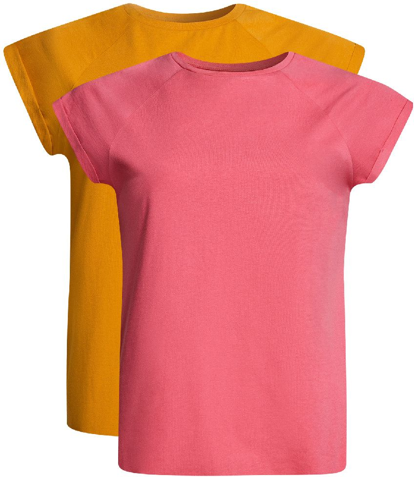 Футболка женская oodji Ultra, цвет: розовый, желтый, 2 шт. 14707001-4T2/46154/4152N. Размер M (46)14707001-4T2/46154/4152NБазовая футболка свободного кроя с короткими рукавами-реглан и круглым вырезом горловины выполнена из натурального хлопка. В комплект входит две футболки.