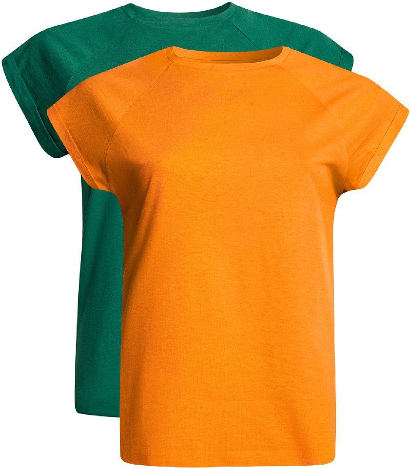 Футболка женская oodji Ultra, цвет: оранжевый, темно-изумрудный, 2 шт. 14707001-4T2/46154/556EN. Размер XS (42)14707001-4T2/46154/556ENБазовая футболка свободного кроя с короткими рукавами-реглан и круглым вырезом горловины выполнена из натурального хлопка. В комплект входит две футболки.