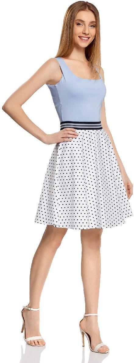 Юбка oodji Ultra, цвет: белый, синий. 11600441/46663/1075D. Размер 34-170 (40-170)11600441/46663/1075DОчаровательна юбка солнце выполнена из натурального хлопка. юбка оформлена принтом в горошек. Сзади модель застегивается на потайную застежку-молнию.