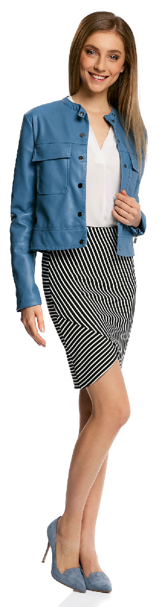 Юбка oodji Ultra, цвет: черный, белый. 14101081/45500/2912S. Размер XS (42)14101081/45500/2912SМодная юбка с асимметричным низом выполнена из высококачественного трикотажного материала. Модель оформлена принтом в полоску.