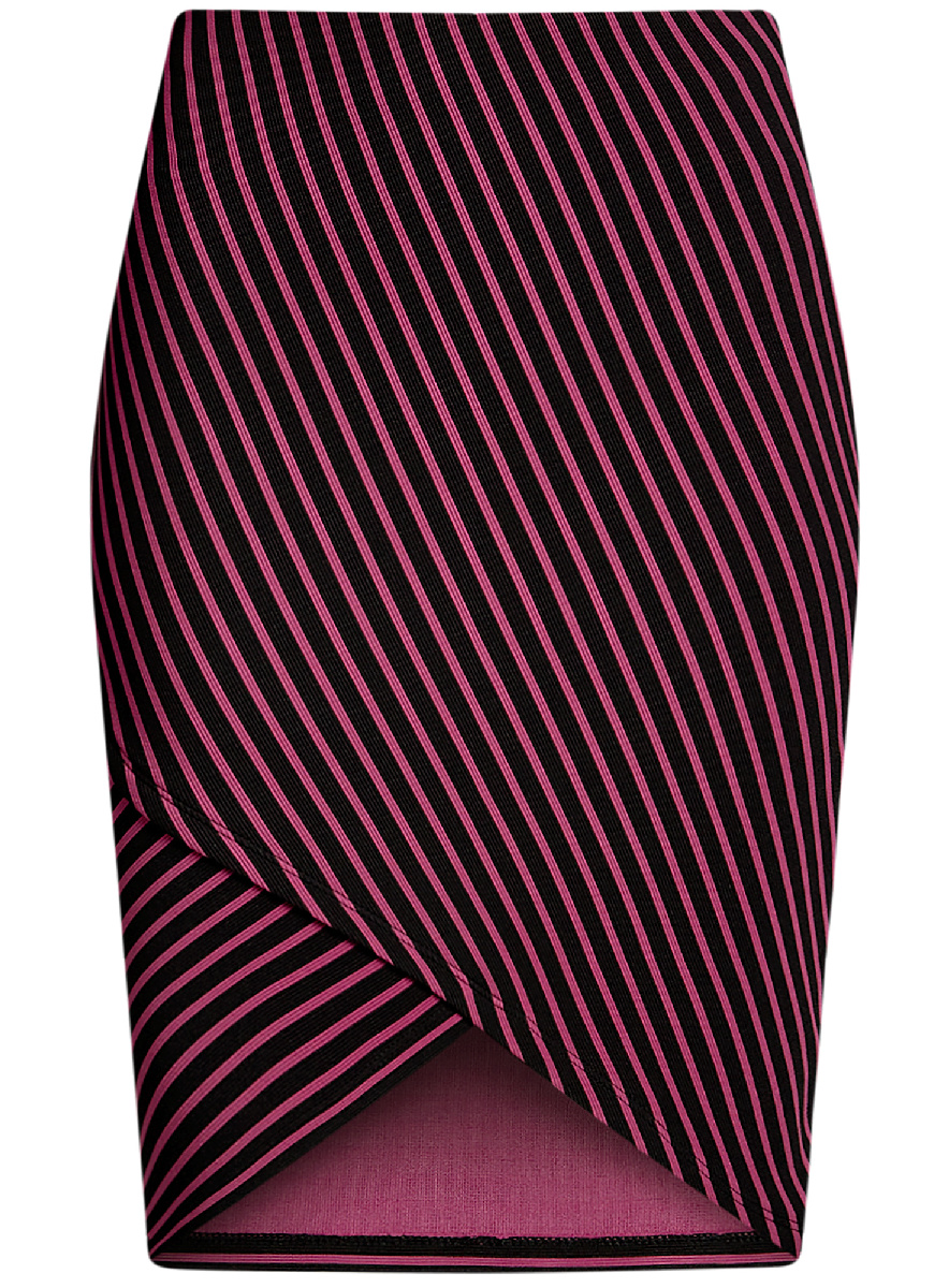 Юбка oodji Ultra, цвет: черный, фуксия. 14101081/45500/2947S. Размер XXS (40)14101081/45500/2947SМодная юбка с асимметричным низом выполнена из высококачественного трикотажного материала. Модель оформлена принтом в полоску.