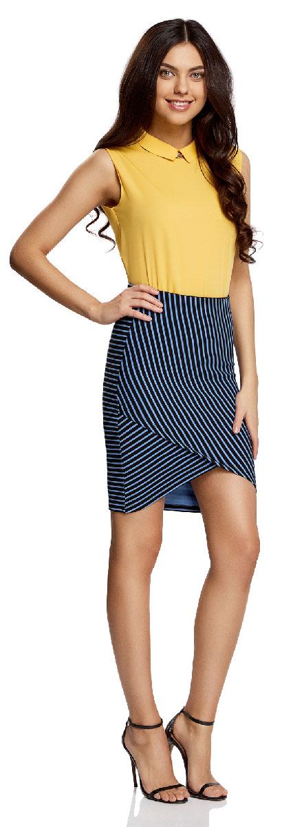 Юбка oodji Ultra, цвет: черный, голубой. 14101081/45500/2970S. Размер XS (42)14101081/45500/2970SМодная юбка с асимметричным низом выполнена из высококачественного трикотажного материала. Модель оформлена принтом в полоску.