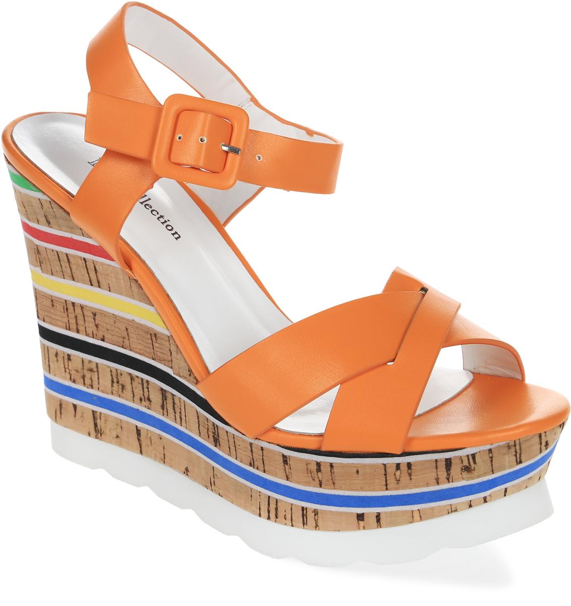 Босоножки женские LK Collection, цвет: оранжевый. H21-A355-6 PU. Размер 39H21-A355-6 PUСтильные босоножки на танкетке выполнены из искусственной кожи. Модель дополнена стелькой из натуральной кожи.