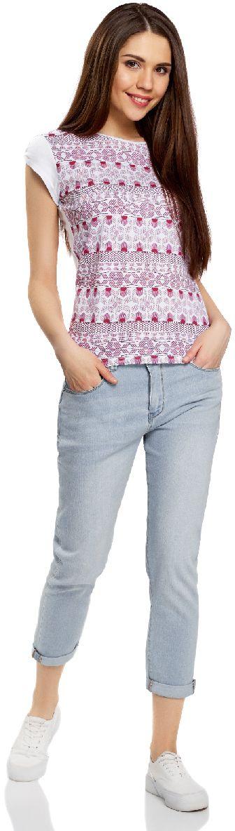 Джинсы женские oodji Ultra, цвет: голубой джинс. 12105105/46678/7000W. Размер 30 (50)12105105/46678/7000WЖенские укороченные джинсы oodji Ultra выполнены из высококачественного материала. Модель-бойфренды средней посадки по поясу застегиваются на пуговицу и имеют ширинку на застежке-молнии, а также шлевки для ремня. Джинсы имеют классический пятикарманный крой: спереди - два втачных кармана и один маленький накладной, а сзади - два накладных кармана. Модель оформлена потертостями.