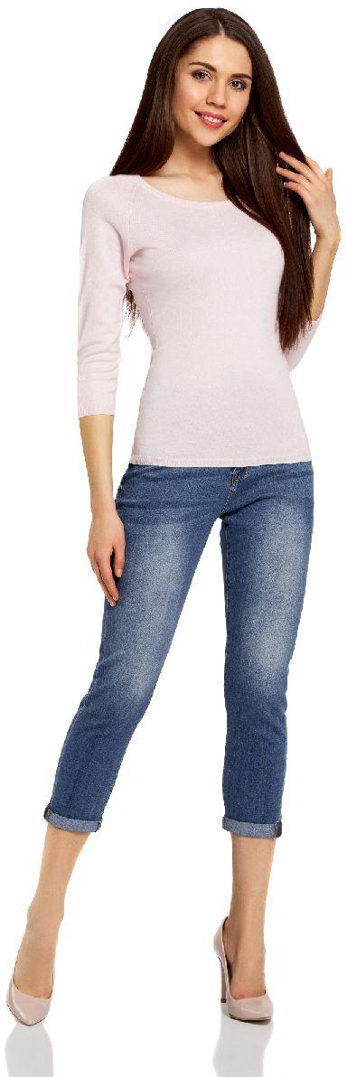 Джинсы женские oodji Ultra, цвет: синий джинс. 12105105/46678/7500W. Размер 27 (44)12105105/46678/7500WЖенские укороченные джинсы oodji Ultra выполнены из высококачественного материала. Модель-бойфренды средней посадки по поясу застегиваются на пуговицу и имеют ширинку на застежке-молнии, а также шлевки для ремня. Джинсы имеют классический пятикарманный крой: спереди - два втачных кармана и один маленький накладной, а сзади - два накладных кармана. Модель оформлена потертостями.