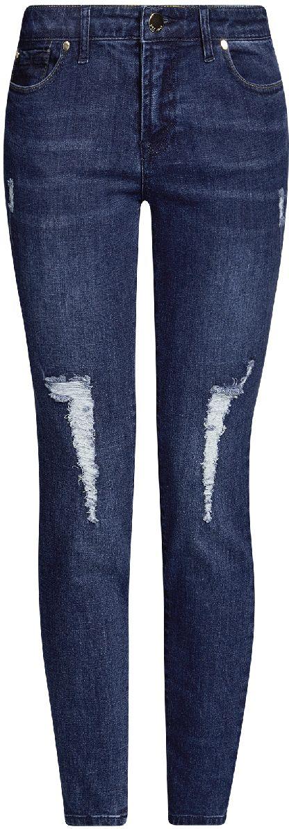 Джинсы женские oodji Ultra, цвет: темно-синий джинс. 12103155/43322/7900W. Размер 26-32 (42-32)12103155/43322/7900WЖенские укороченные джинсы oodji Ultra выполнены из высококачественного материала. Зауженная модель средней посадки по поясу застегиваются на пуговицу и имеют ширинку на застежке-молнии, а также шлевки для ремня. Джинсы имеют классический пятикарманный крой: спереди - два втачных кармана и один маленький накладной, а сзади - два накладных кармана. Модель оформлена потертостями.