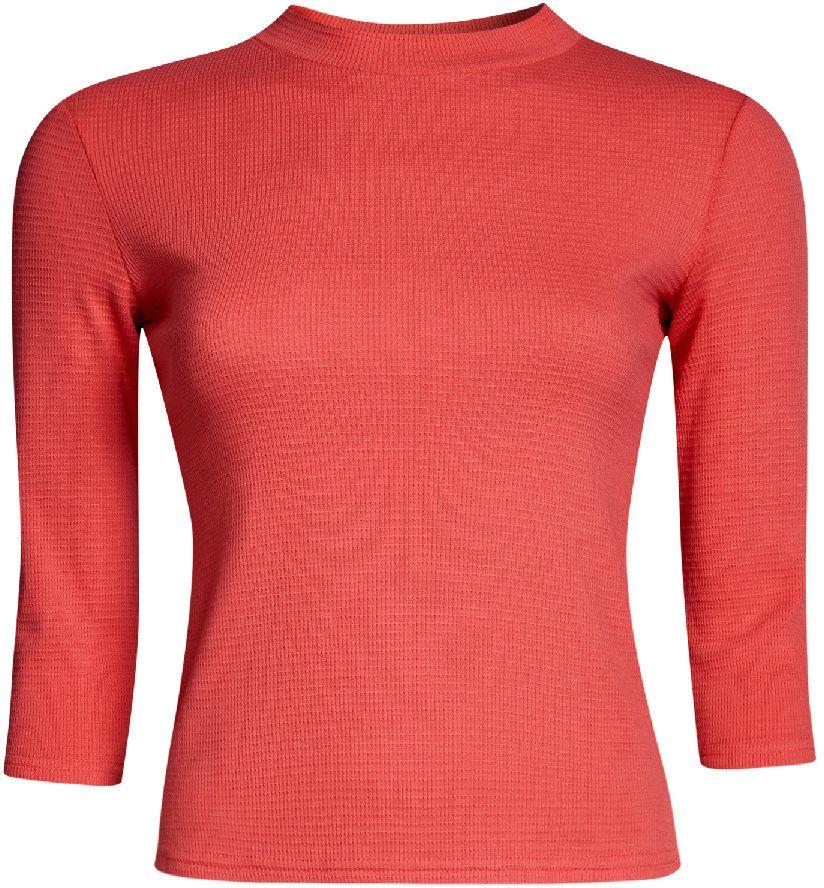 Джемпер женский oodji Ultra, цвет: коралловый. 15E11003/45210/4301N. Размер S (44)15E11003/45210/4301NУютный женский джемпер в рубчик с круглым вырезом горловины и рукавами 3/4 выполнен из эластичного хлопка.