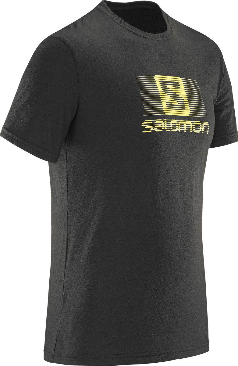 Футболка мужская Salomon Blend Logo SS Tee, цвет: черный. L39373700. Размер M (48/50)L39373700В жаркую или прохладную погоду легкая и удобная футболка Salomon Blend Logo SS Tee с коротким рукавом, изготовленная из дышащих тканей — полиэстера и хлопка, сохранит комфорт весь день напролет. Уникальное покрытие с логотипом демонстрирует вашу приверженность бренду.