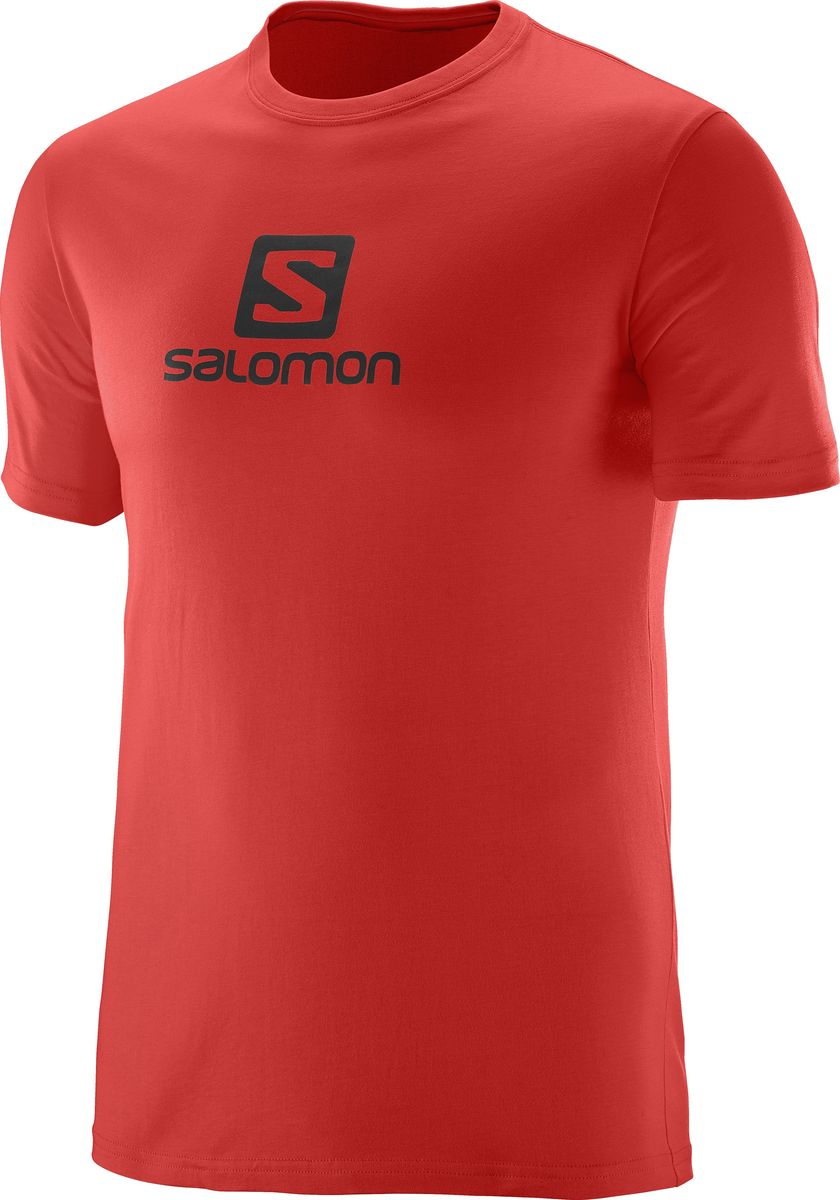 Футболка мужская Salomon Cotton Logo SS Tee, цвет: красный. L39376300. Размер M (48/50)L39376300Когда нужен легкий и мягкий материал, нет ничего лучше хлопка. Футболка Salomon Cotton Logo SS Tee дарит вам мягкость хлопка и логотип, которым можно похвастаться. Модель с круглым вырезом горловины имеет короткие рукава.