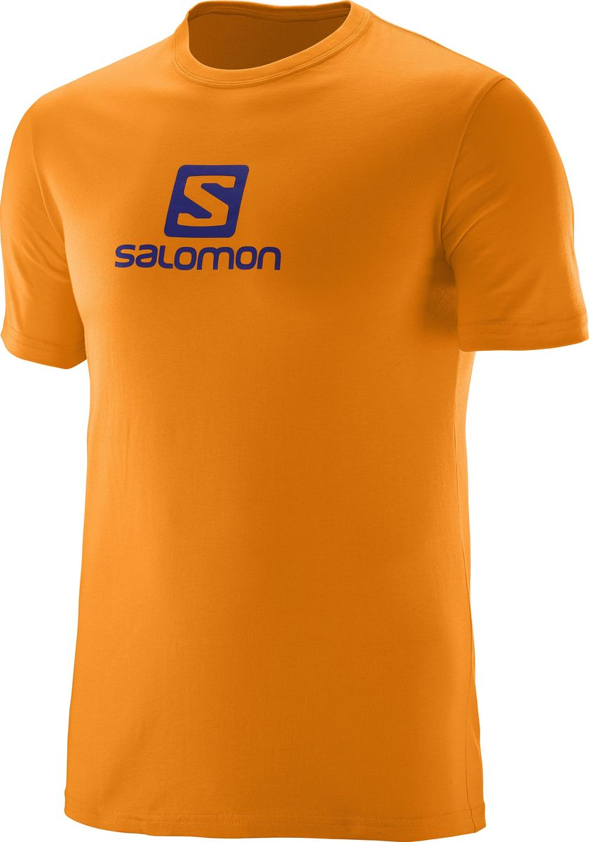 Футболка мужская Salomon Cotton Logo SS Tee, цвет: желтый. L39376500. Размер M (48/50)L39376500Когда нужен легкий и мягкий материал, нет ничего лучше хлопка. Футболка Salomon Cotton Logo SS Tee дарит вам мягкость хлопка и логотип, которым можно похвастаться. Модель с круглым вырезом горловины имеет короткие рукава.