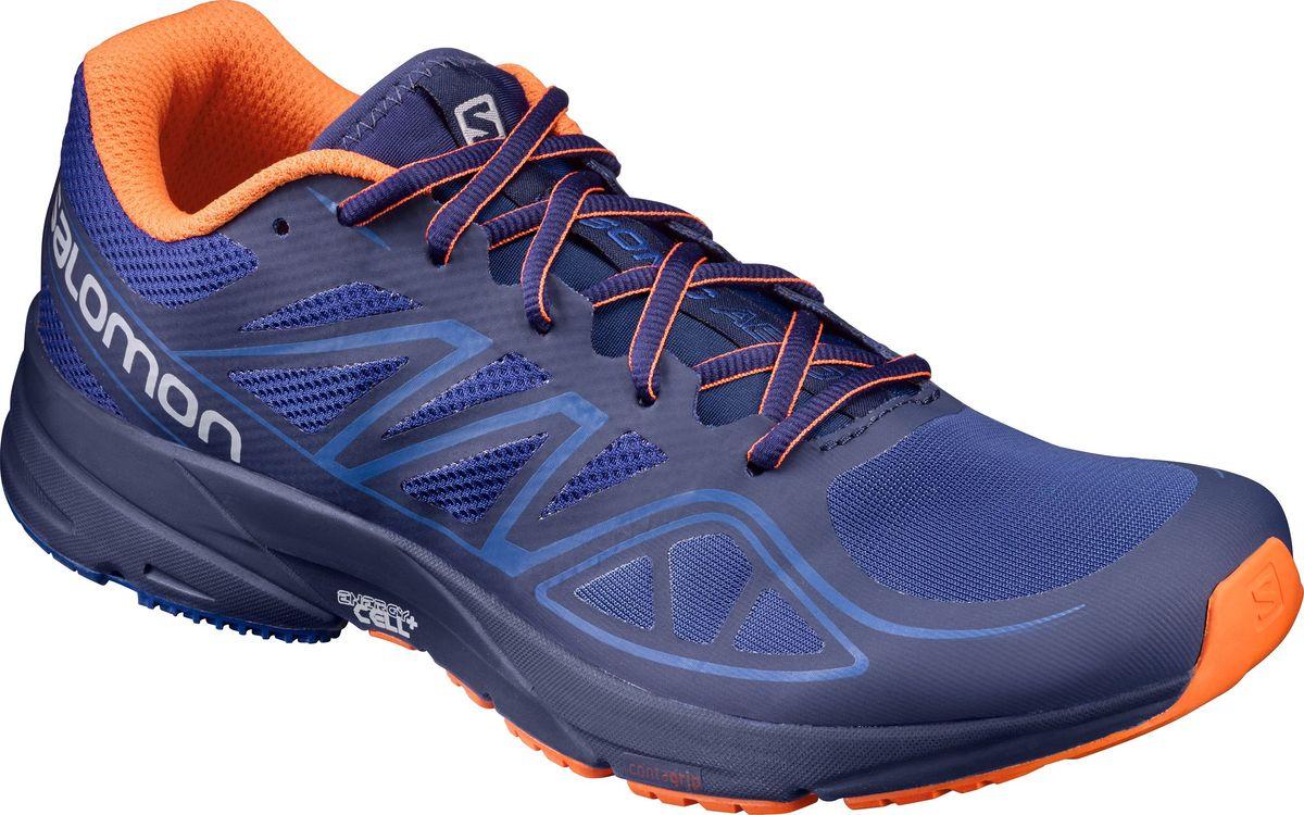 Кроссовки для бега мужские Salomon Sonic Aero, цвет: синий. L39349300. Размер 10 (43)L39349300Мужские кроссовки от Salomon - это беговые кроссовки, позволяющие поддерживать скорость и выносливость на максимальном уровне. Модель, выполненная из высококачественного материала, дарит комфорт и легкость во время ходьбы или бега. Верх изделия оформлен шнуровкой, которая надежно фиксирует обувь на ноге. Подкладка и стелька, изготовленные из текстиля, обеспечат комфорт и уют вашим ногам. На заднике и язычке, кроссовки декорированы логотипом бренда. Рифленая подошва обеспечит прочное сцепление с любой поверхностью.
