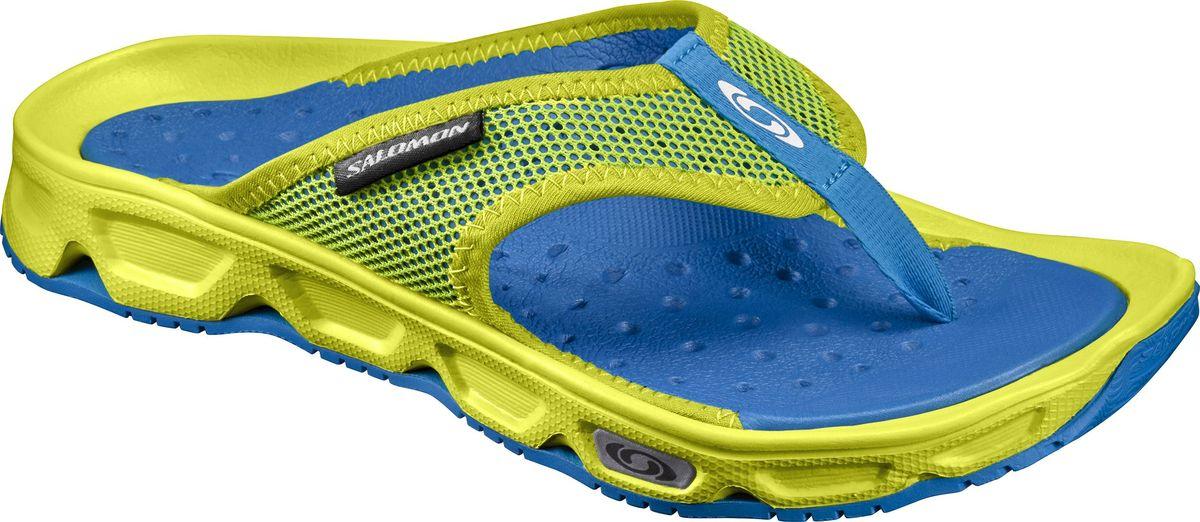 Сланцы мужские Salomon Rx Break, цвет: желтый, синий. L39249400. Размер 9 (42)L39249400Легкие мужские сланцы от Salomon RX Break придутся вам по душе. Верх модели изготовлен из синтетического материала и текстиля и дополнен символикой бренда. Отличная перфорация и сетчатый материал обеспечивают вентиляцию ноги. Внутренняя часть изготовлена из EVA материла. EVA - это легкий и прочный материал, обладающий хорошими амортизирующими свойствами и водонепроницаемостью. Светоотражающие элементы предназначены для лучшей видимости в темное время суток. Износостойкая подошва с технологией Contagrip оснащена рифлением для лучшей сцепки с поверхностью. Такие сланцы помогут ногам восстановиться сразу после окончания пробежки и вплоть до того момента, когда вы сможете растянуться в своем гамаке.