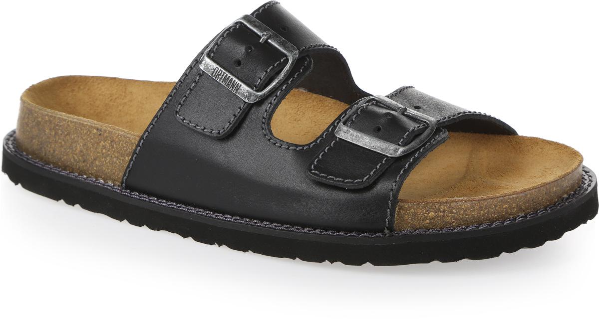 Сандалии мужские Ortmann Batman, цвет: черный. 7.09.2. Размер 437.09.2Модные сандалии от Ortmann придутся по вам по душе. Модель изготовлена из натуральной кожи. Ремешки с застежками-пряжками прочно закрепят обувь на ноге и отрегулируют нужный объем. Стелька из натуральной замши, дополненная логотипом бренда, комфортна при движении. Подошва с рифлением обеспечивает отличное сцепление с поверхностью.Практичные и стильные сандалии займут достойное место в вашем гардеробе.