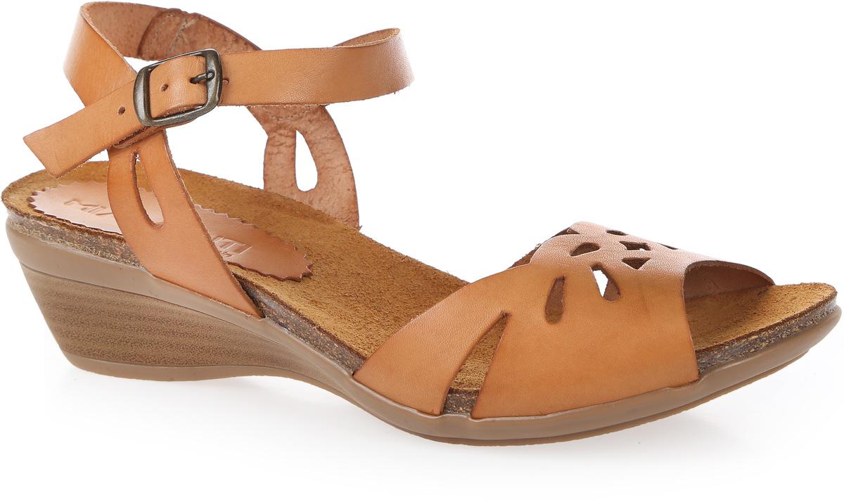 Босоножки женские Mia Mianti, цвет: бежевый. 904-111-02/88. Размер 39904-111-02/88Стильные босоножки от Mia Miantiзаймут достойное место среди вашей коллекции летней обуви. Модель выполнена из натуральной кожи и оформлена перфорированным узором. Ремешок с металлической пряжкой прямоугольной формы отвечает за надежную фиксацию модели на ноге. Длина ремешка регулируется за счет болта. Стелька из натуральной кожи гарантирует комфорт при ходьбе. Рифление на танкетке защищает изделие от скольжения. Прелестные босоножки очаруют вас своим дизайном с первого взгляда.
