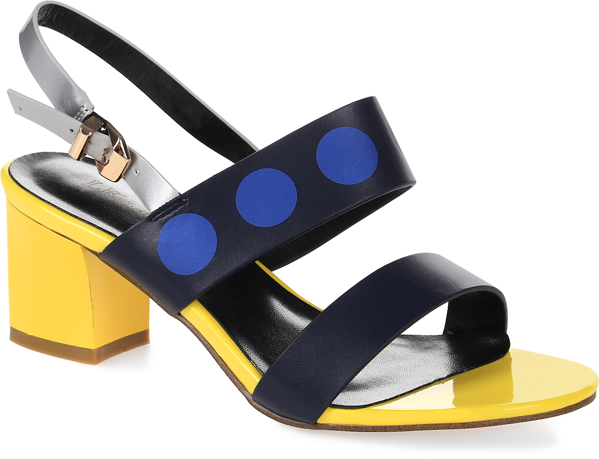 Босоножки женские LK Collection, цвет: синий, желтый. 3288C-72B PU. Размер 353288C-72B PUСтильные босоножки на невысоком квадратном каблуке выполнены из искусственной кожи. Модель дополнена стелькой из натуральной кожи.