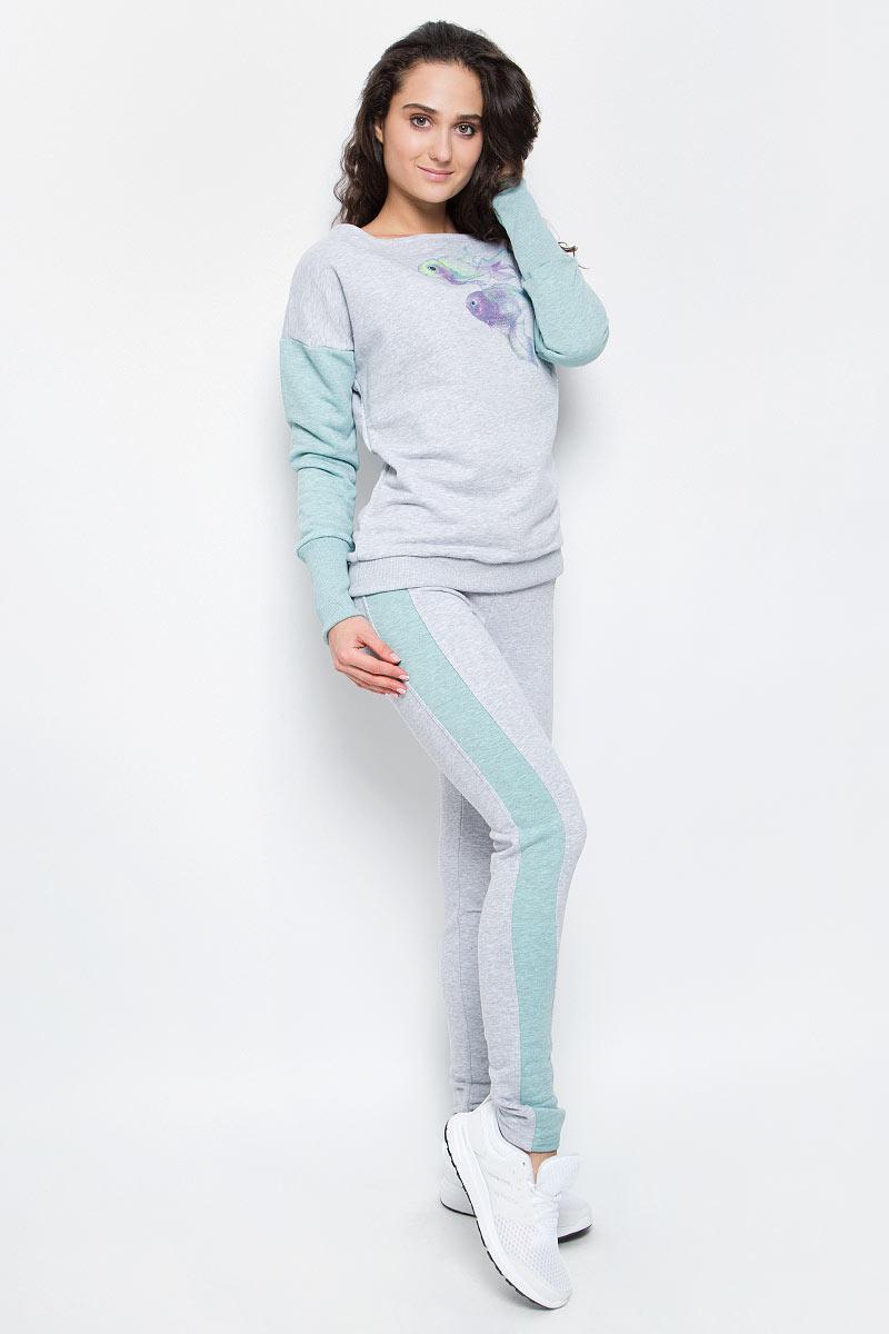 Брюки спортивные женские Grishko, цвет: серый, зеленый. AL-3110. Размер L (48)AL-3110Суперкомфортные брюки Grishko прямого кроя с лампасами и эластичным поясом прекрасно подойдут для спортивных тренировок и прогулок на свежем воздухе. Модель изготовлена с вставками контрастного цвета, создающими стройный силуэт. Выполнена из мягкого меланжированнного хлопка с лайкрой нового поколения - необычайно качественного и приятного на ощупь материала.