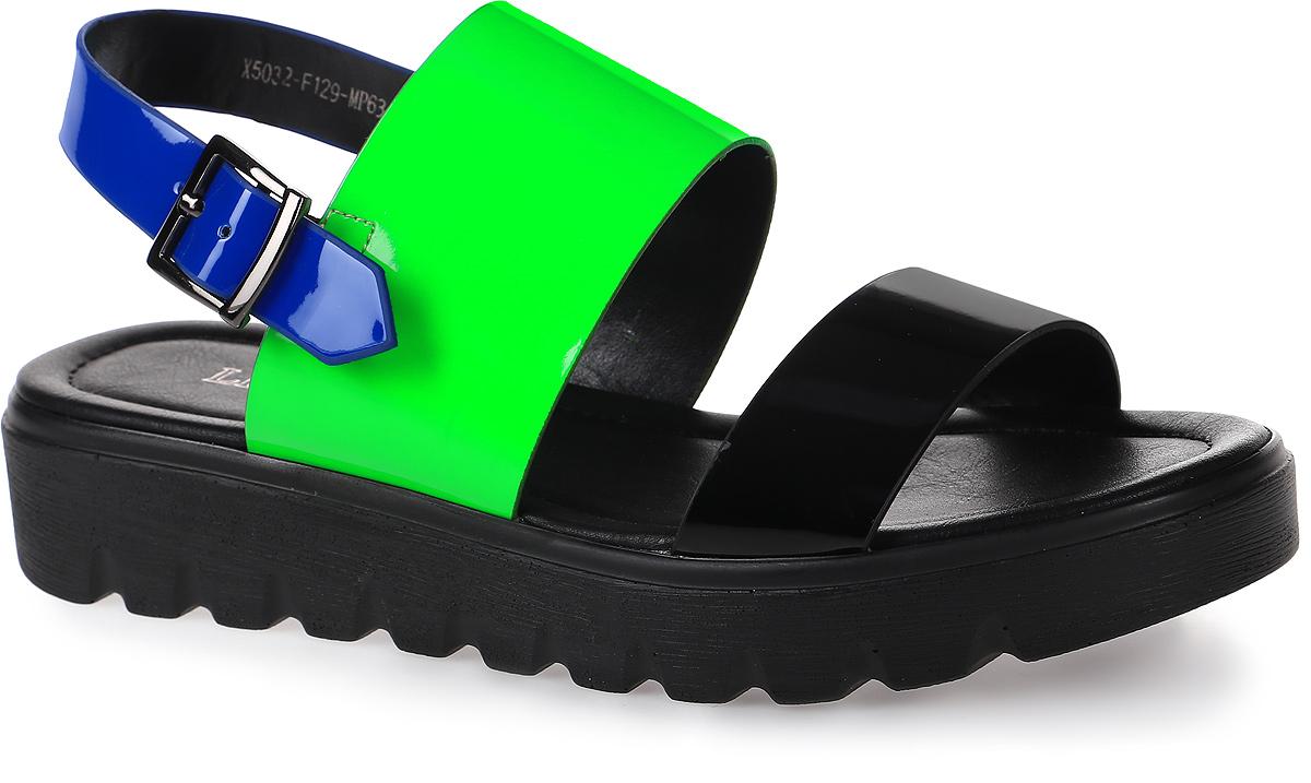 Сандалии женские LK Collection, цвет: черный, зеленый. X5032-F129-MP63 PU. Размер 39X5032-F129-MP63 PUУдобные сандалии на плоской подошве выполнены из искусственной кожи. Стелька выполнена из натуральной кожи. Сандалии фиксируются на ноге при помощи застежки-пряжки.
