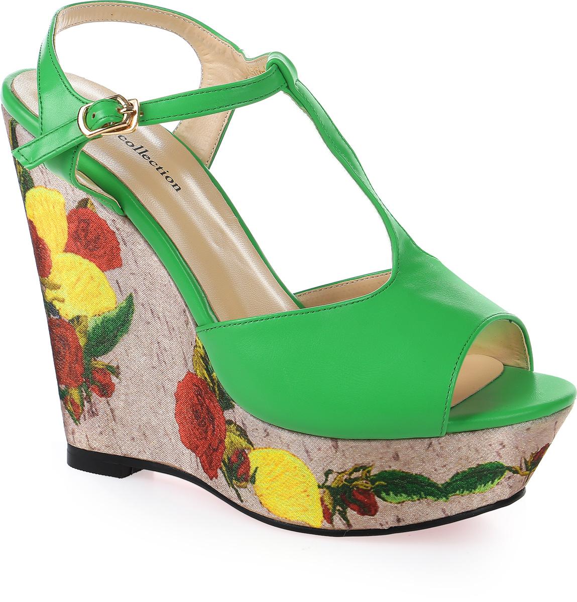 Босоножки женские LK Collection, цвет: зеленый. W263-7156-1 PU. Размер 39W263-7156-1 PUСтильные босоножки на высокой танкетке выполнены из искусственной кожи. Стелька выполнена из натуральной кожи. Босоножки фиксируются на ноге при помощи застежки-пряжки.